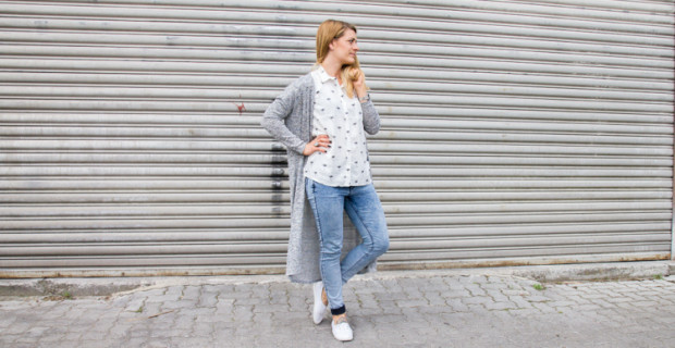 Palmen Bluse und Long Cardigan H&M Beitragsbild